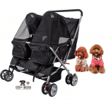 Dporticus 4 Wheel Pet Stroller Foldable Two-Seater Carrier Strolling Cart