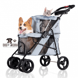 Ibiyaya 4 Wheel Double Pet Stroller for Dogs and Cats