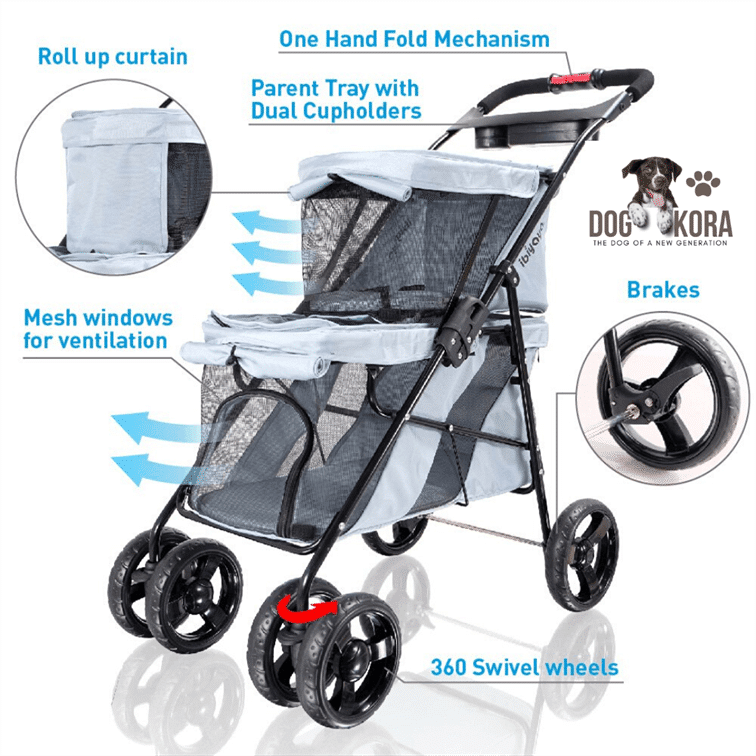 Ibiyaya 4 Wheel Double Pet Stroller for Dogs and Cats, Great for Twin or Multiple pet Travels