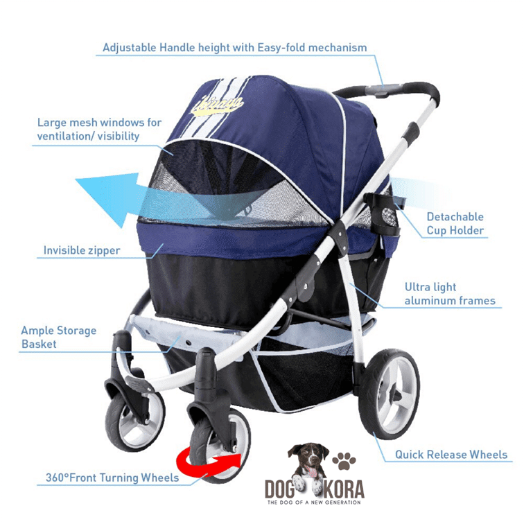 Ibiyaya Double Dog Strollers for Large Dogs up to 77 lbs, Aluminum Frame, 4-Wheel with Suspension