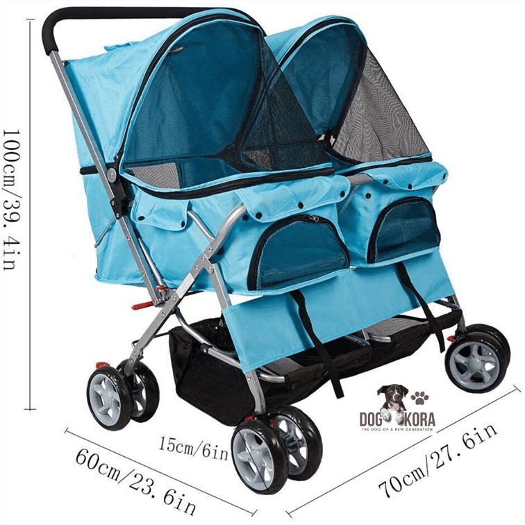KARMAS PRODUCT Pet Stroller for Dog Cat Small Animal Folding Walk Jogger Travel Carrier Cart with Three Wheels_Four Wheels