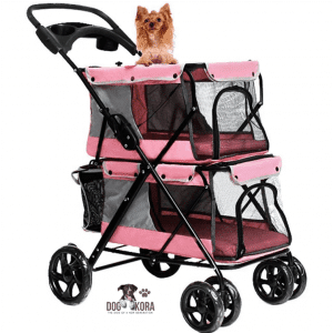 LOVEPET Lightweight Folding Double Pet Stroller