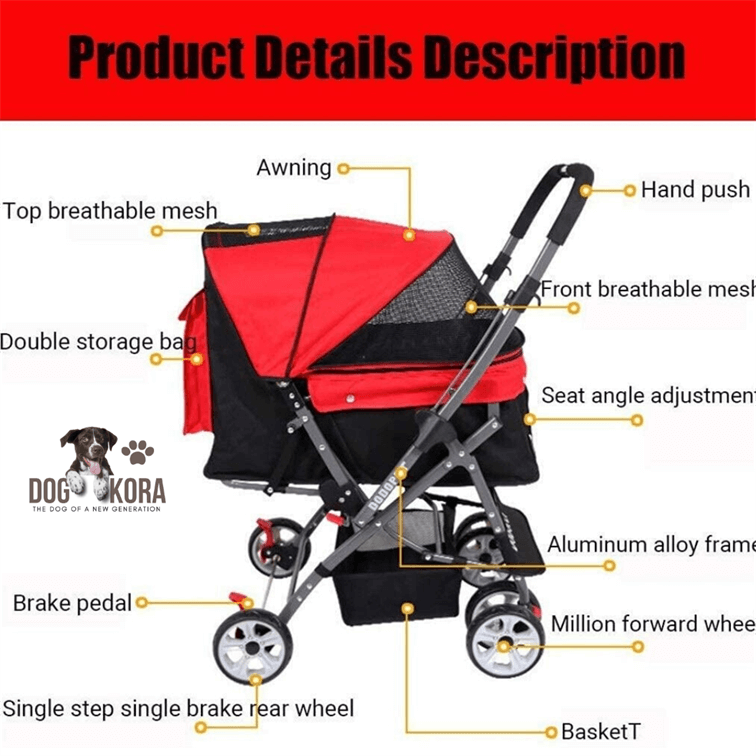 Pet Four-Wheeled Reversible Trolley Cats Dogs Carts Shockproof Durable Stroller Adjustable Direction One-Click Folding Quick Installation Suitable for Travel,Red (Color _ Blue)
