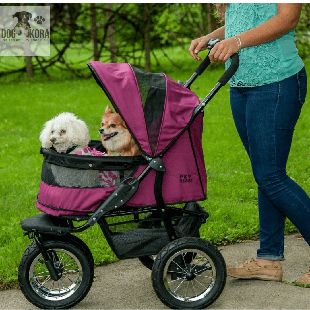 Pet Gear NO-Zip Double Pet Stroller, Zipper less Entry, for Single or Multiple Dogs and cats
