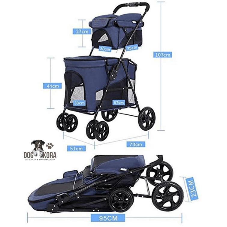 Pet Stroller Double Decker, Luxury 4 Wheel Foldable Jogging Pet Travel Carrier Portable Spacious Removable Pet Rover