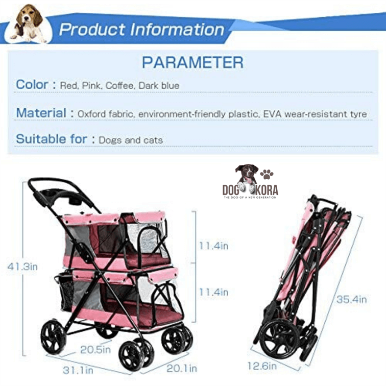 WINGOFFLY Double-Deck 4 Wheels Pet Dogs Cats Stroller with Cup Holder