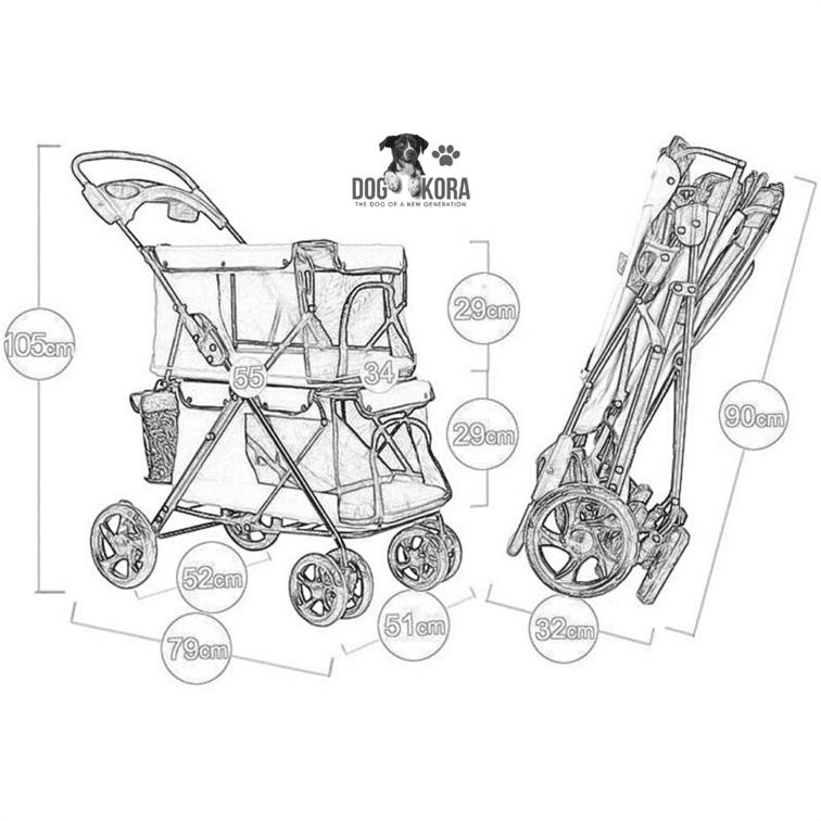 WMS Double-Decker Pet Stroller Folding Four