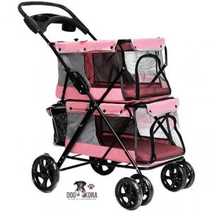 WMS Double-Decker Pet Stroller Folding Four-Wheeled Dogs