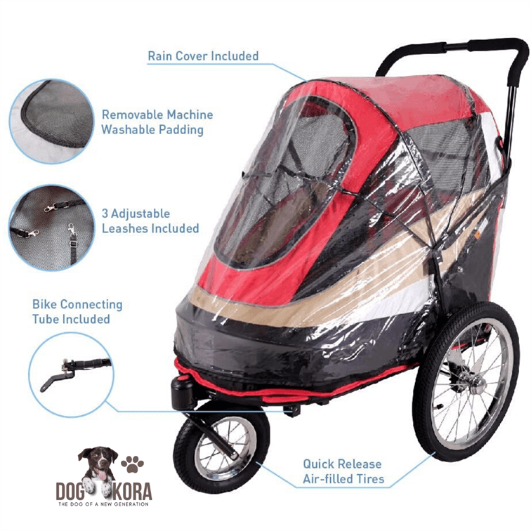 ibiyaya 2-in-1 Pet Strollers_Bicycle Trailer for Single or Multiple Dogs_Cats_Pet Medium to Small