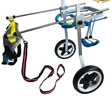 Two Wheels Adjustable Dog Wheelchair, cart 3D Soft Harness Belly Band Specially for Spondylitis
