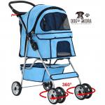 BestPet New 4 Wheels Pet Stroller