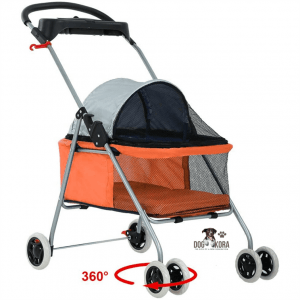 BestPet Pet Stroller 4 Wheels Posh Folding