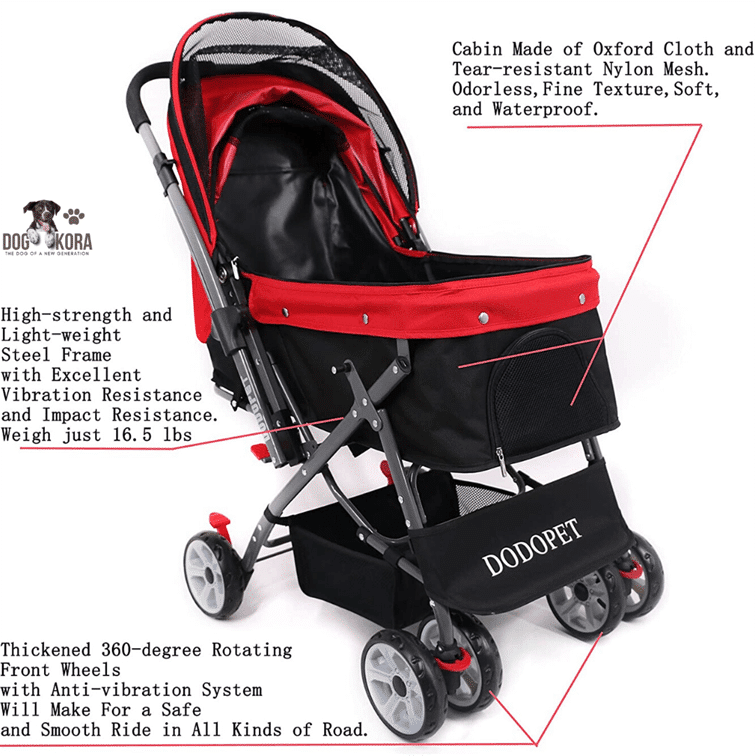 DODO PET Pet Stroller with 4 Wheels