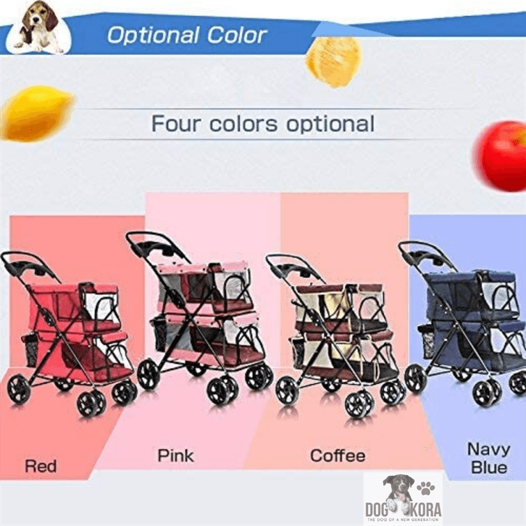 LOVEPET Lightweight Folding Double Pet Stroller Dog Large Space Cart Cage Four Wheel Outdoor Travel Supplies