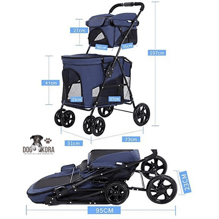 Pet Stroller Double Decker, Luxury 4 Wheel Foldable Jogging Pet Travel Carrier Portable Spacious Removable Pet Rover